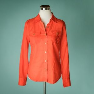 Tory Burch 6 Orange Red Tab Sleeve Button Down Top